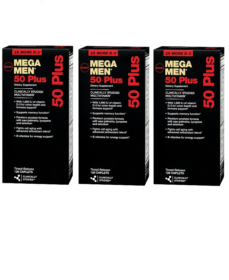 GNC Men's Mega Men 50 Plus Dietary Supplement 120 ea x 3