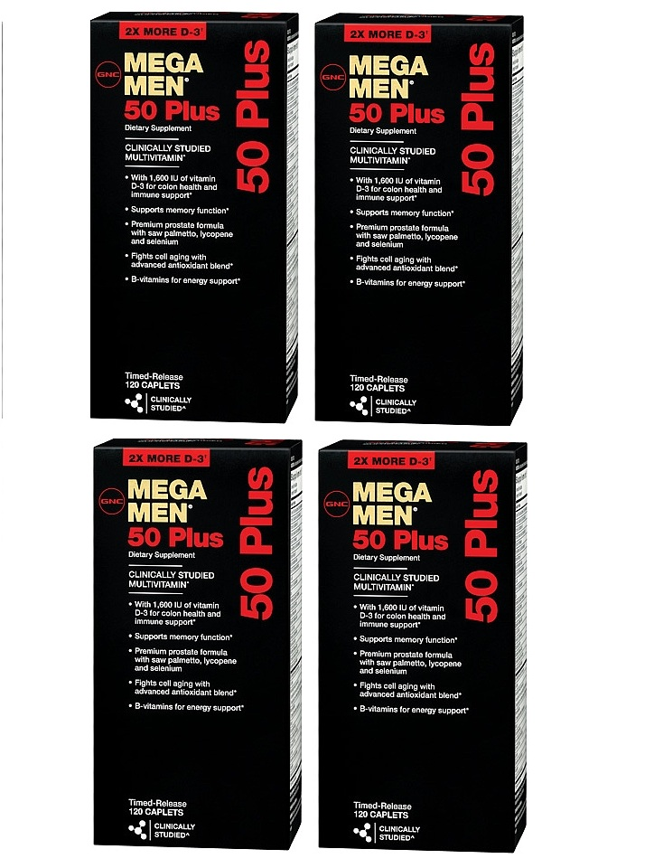 GNC Men's Mega Men 50 Plus Dietary Supplement 120 ea x 4