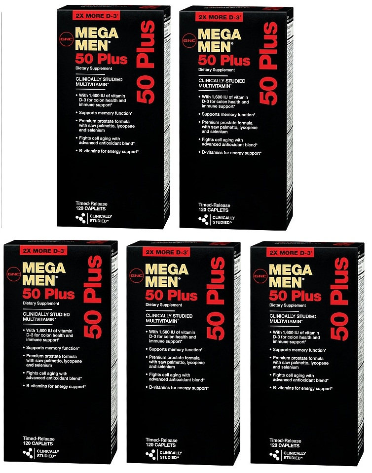 GNC Men's Mega Men 50 Plus Dietary Supplement 120 ea x 5
