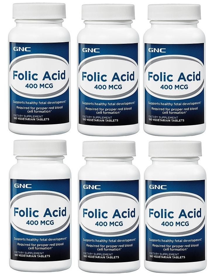 GNC 葉酸 Folic Acid 400 mcg, 100顆 (一組6瓶)