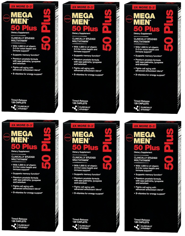 GNC Men's Mega Men 50 Plus Dietary Supplement 120 ea x 6