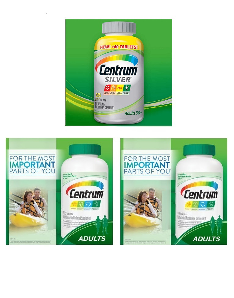 Centrum multi365tbx2+Centrum Silver multi 285tbx1 bottles