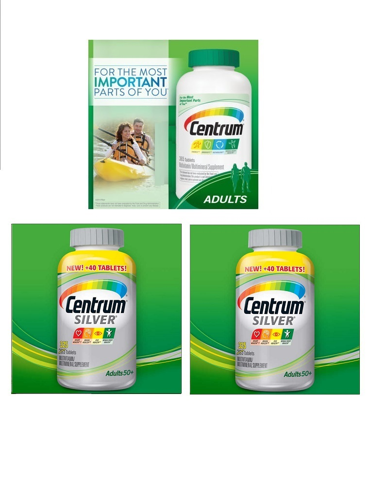 Centrum Multi365tbx1+Centrum Silver multi285tbx2 bottles