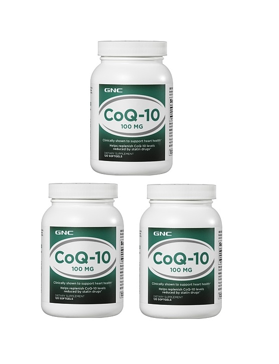 GNC CoQ-10 100mg 120 softgels x 3