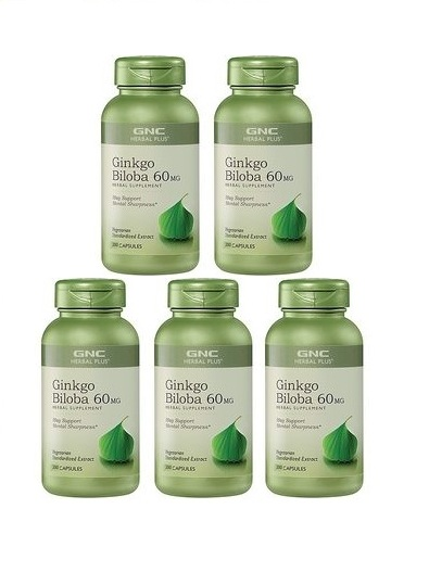GNC Herbal Plus Ginkgo Biloba, Capsules 200 ea x 5
