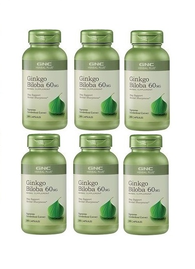 GNC Herbal Plus Ginkgo Biloba, Capsules 200 ea x 6