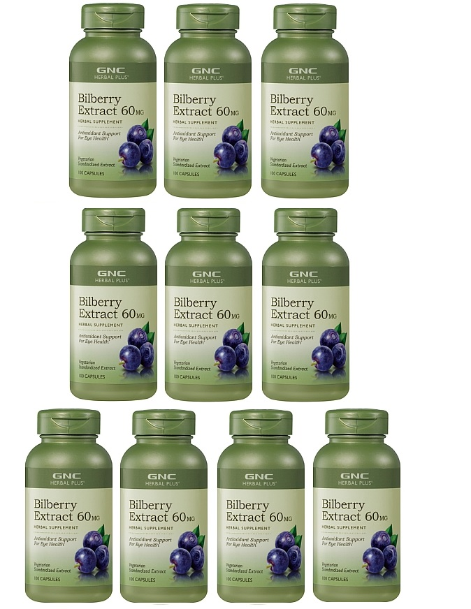 GNC Herbal Plus Bilberry Exract  60mg  100Capsules x 10