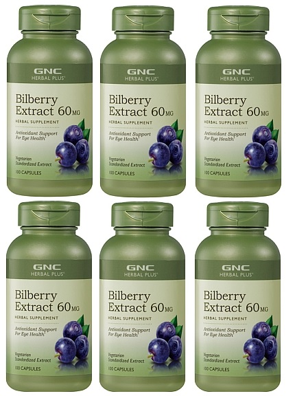 GNC Herbal Plus Bilberry Exract  60mg  100Capsules x 6