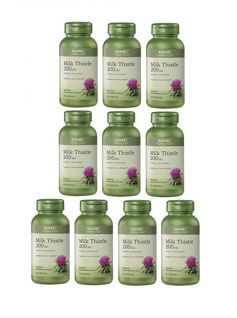 GNC Herbal Plus Milk Thistle, Vegetarian Capsules 100 ea x 10