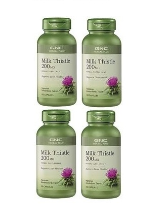 GNC Herbal Plus Milk Thistle, Vegetarian Capsules 100 ea x 4