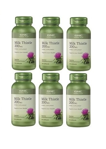 GNC Herbal Plus Milk Thistle, Vegetarian Capsules 100 ea x 6