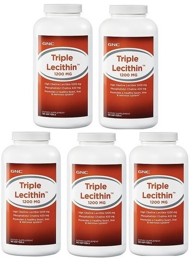 GNC Triple Lecithin 1200 mg 180 softgels x 5