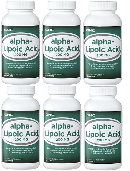 GNC Alpha Lipoic Acid 200, 60 Softgel Capsules (6 bottles )