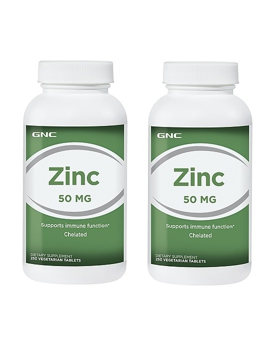 GNC Zinc 50mg, Chelated Tablets 250 ea x 2