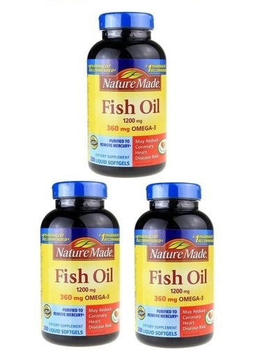 Nature Made Fish Oil 1200 mg, 200 Softgels x 3