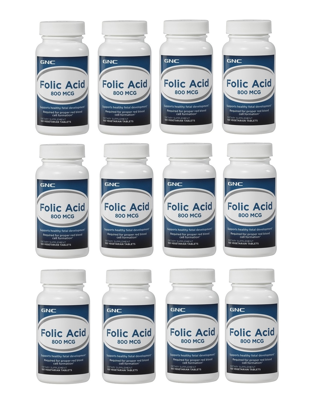 GNC 葉酸 Folic Acid 800 mcg, 100顆(一組12瓶)