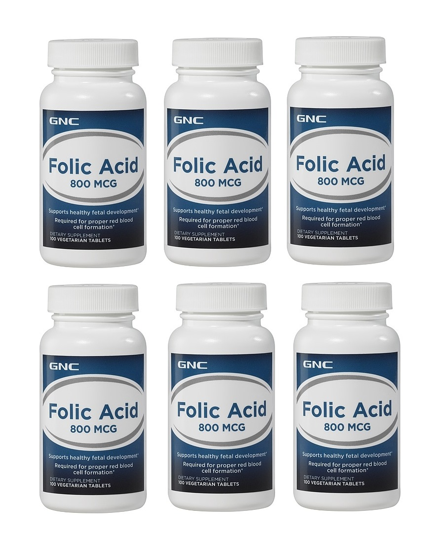 GNC 葉酸 Folic Acid 800 mcg, 100顆 (一組6瓶)