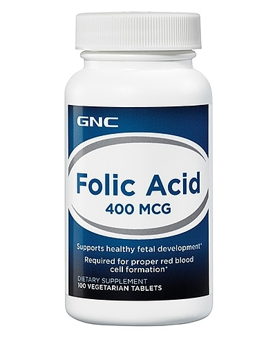 GNC Folic Acid 400 mcg, 100 Vegetarian Tablets