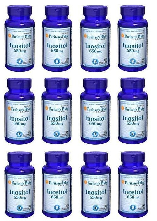 Puritan's Pride  Inositol 650mg  100 Tablets x 12